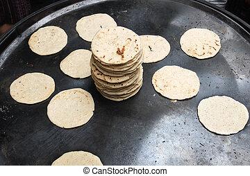 tortillas, marché, cuit
