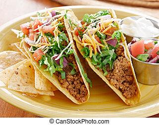 tortillas, mexican の食物, -, タコス, プラター