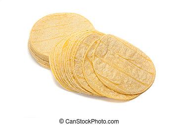tortillas mexicanas de maíz, blanco, pila