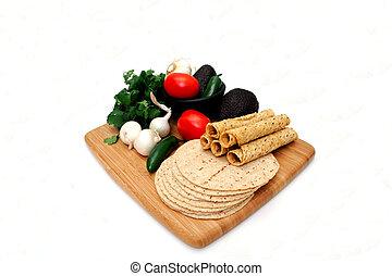 tortillas, taquitoes, veggies
