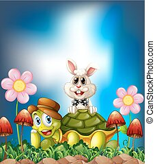 Tortoise and hare smiling in the flower field