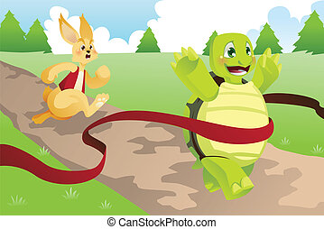 Tortoise and hare - A vector illustration of tortoise and...