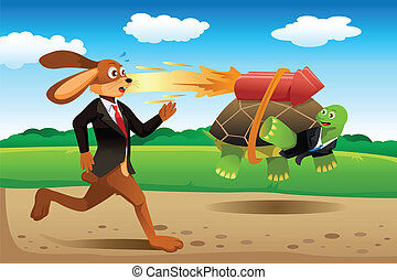 Tortoise and hare racing - A vector illustration of tortoise...