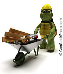 tortoise Builder with a wheel barrow carrying tools