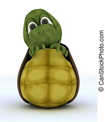 Tortoise Caricature Hiding in Their Shell - 3D render of a...