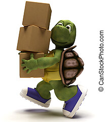 Tortoise Caricature runniing with packing cartons - 3D...