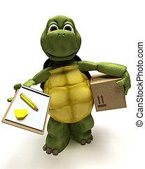 tortoise delivering a parcel - 3D render of a tortoise...