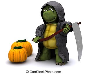 tortoise dressed as the grim reaper for halloween