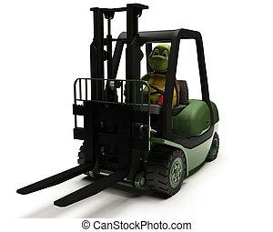 Tortoise driving a forklift truck