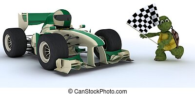 Tortoise in race car winning at che - 3D render of a...