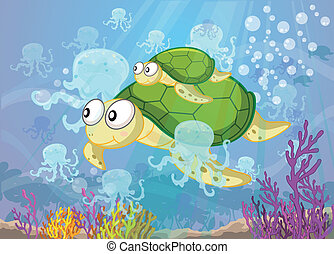 tortoise in water - illustration of a tortoise swimming in...