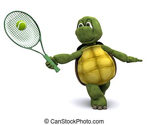 Tortoise playing tennis