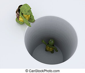 tortoise stuck in a hole metaphor - 3D render of a tortoise...