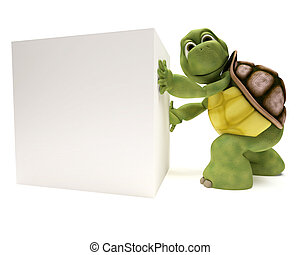 Tortoise with a blank white sign