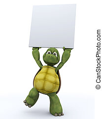 Tortoise with a blank white sign - 3D Render of a Tortoise...