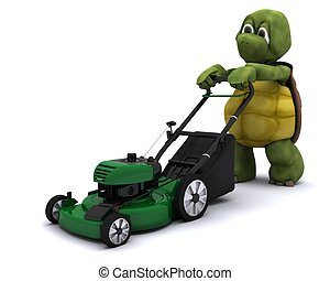 Tortoise with a lawn mower - 3D Render of a Tortoise with a...