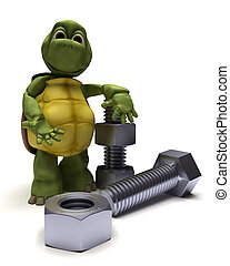 tortoise with a nut and bolt - 3D render of a tortoise with...