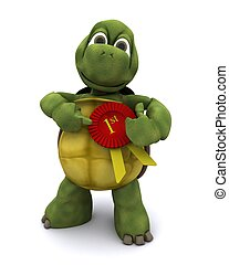 Tortoise with a rosette - 3D Render of a Tortoise with a...