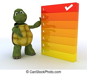tortoise with a to do list - 3D render of a tortoise with a...