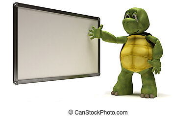 Tortoise with blank white board - 3D Render of a Tortoise...