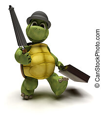 Tortoise with bowler hat and brief case