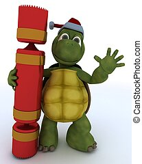 tortoise with christmas cracker