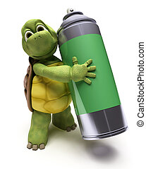 Tortoise with spray can - 3D render of a Tortoise with a...