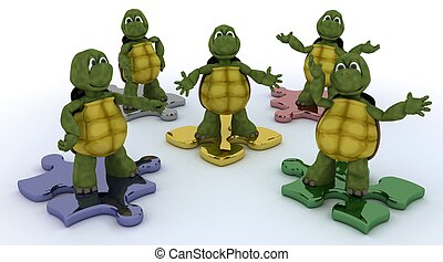 tortoises on jigsaw pieces