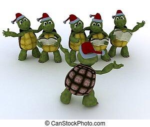tortoises singing christmas carols - 3D Render of a...