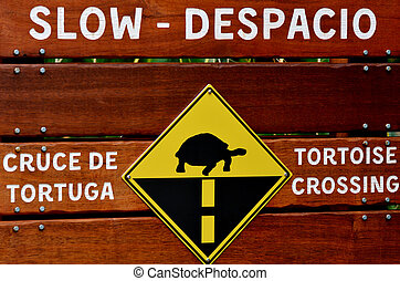 Tortorise crossing slow speed sign.