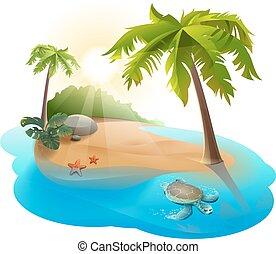tortue, île, palmier, exotique