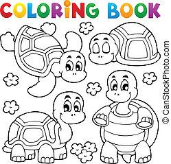 tortue, 1, thème, livre coloration