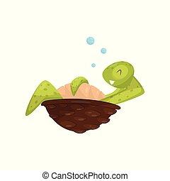 tortue, brun, reptile, underwater., délassant, plat, creature., vie, theme., vecteur, vert, mer, conception, sourire, océan, marin, shell.