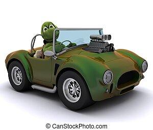 Camion chariot l vateur fourche tortue conduite tortue render l vateur camion imp rieux 3d - Voiture tortue ...