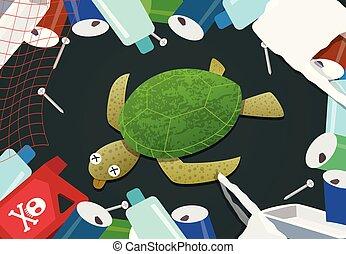 tortue, déchets, mort, océan, tas, pollution