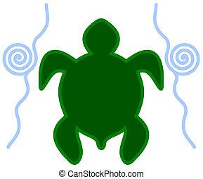 tortue, eau, icône