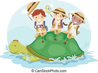 tortue, gosses, stickman, explorateur, aventure