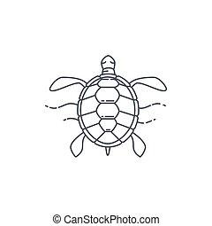 tortue, ligne, icône