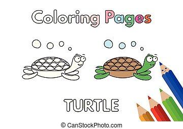 tortue, livre coloration, dessin animé