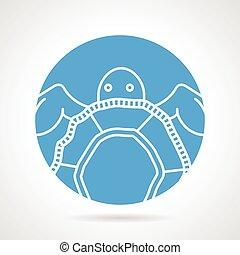 tortue mer, rond, vecteur, icône