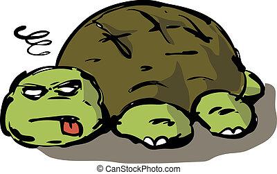 tortue, paresseux, illustration, fatigué