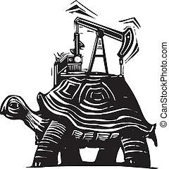 tortue, puits de pétrole
