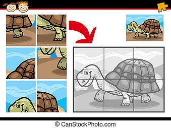 tortue, puzzle, puzzle, jeu, dessin animé