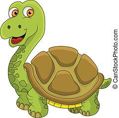 tortue, rigolote, dessin animé