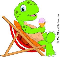 tortue, séance, glace, tenue, chaise, plage, dessin animé, crème