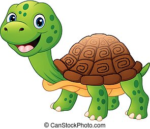 tortue, sourire, dessin animé