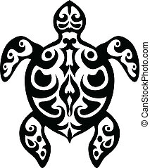 tortue, tatouage, tribal