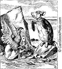 tortuga, 1865., vendimia, publicado, -, aventuras, ilustración, alice, gryphon, tenniel, alice's, mundo maravilloso, cantar, juan, original, simulado, engraving.