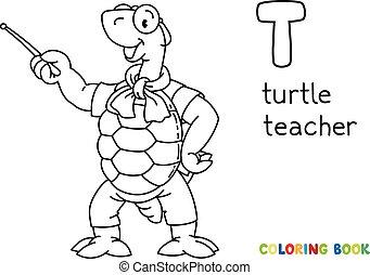tortuga, abc, colorido, book., profesor, alfabeto, t