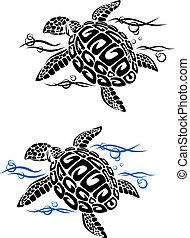 tortuga, agua, mar